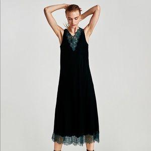 Zara Velvet Lingerie Style Dress NWT Size M